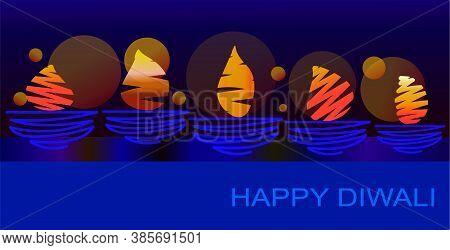 Elegant Ethnic Simple Card For Diwali Festival  Vector Illustration Also Useful For Header, Invitati