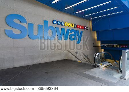 New York, Usa - May 11, 2018: Sign Of Subway Station In New York. The Subway In New York Is The Larg