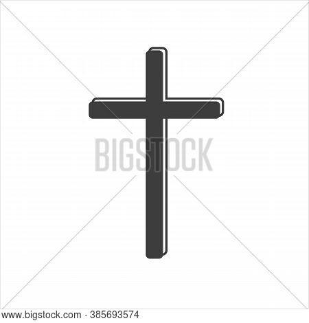 Hand Drawn Black Grunge Cross Icon, Simple Christian Cross Sign, Hand-painted Cross Symbol Created W