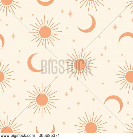 Seamless Pattern With Sun And Moon.  Contemporary  Composition. Boho Wall Decor. Mid Century Art Pri