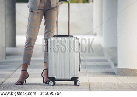 Business Woman Dragging Suitcase Luggage Bag,walk To Passenger Boarding In Airport.working Woman Tra