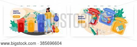 Woman Put Garbage Bag Into Trash Bin. Waste Sorting And Recycle Concept Illustration. Vector Web Sit