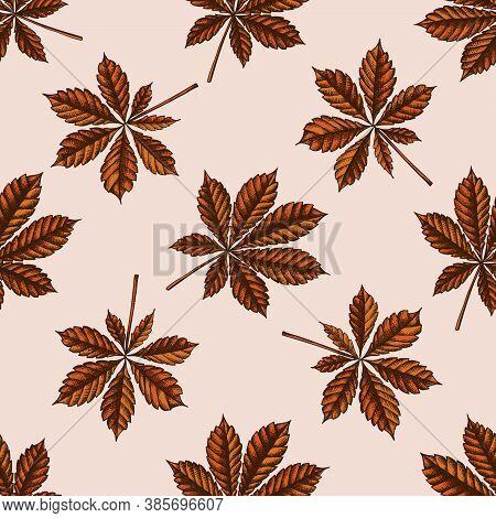 Seamless Pattern With Hand Drawn Colored Horse Chestnut Stock Illustration