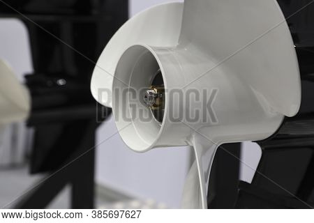 White Three Blade Of Marine Engine For Speed Boat ; Engineering Industrial Background