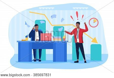 Conflict In The Workplace With Two Colleagues Having A Heated Verbal Argument After Their Performanc
