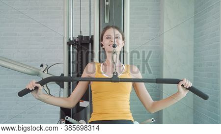 Portrait Of Fit White Healthy Woman, Caucasian Person, Doing Exercise, Working Out, And Training In