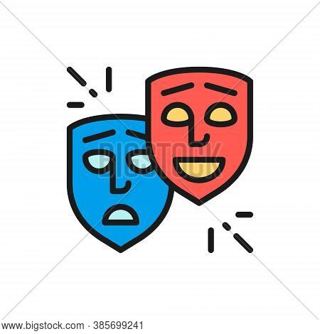 Theater Masks, Comedy And Tragedy Faces, Smile And Sad Flat Color Line Icon.