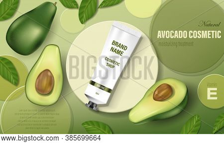 Avocado Cosmetic Poster Ad. Realistic Hand Cream With Green Avocado And Tree Leaves, Circular Disks