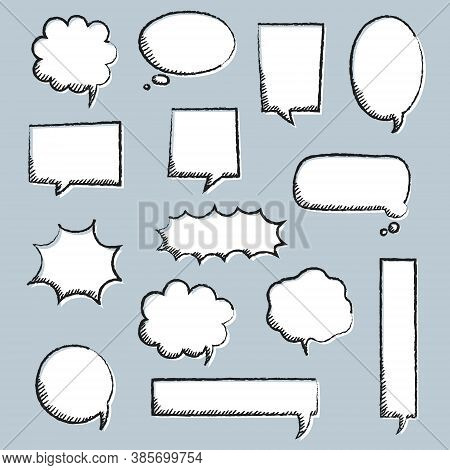 Collection Set Of Blank Black And White Hand Drawing Speech Bubble Balloon, Think Speak Talk Text Bo