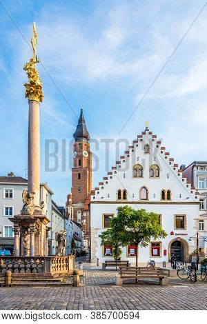 Straubing,germany - August 11,2020 - At The Ludwig Place In Straubing. Straubing Is An Independent C