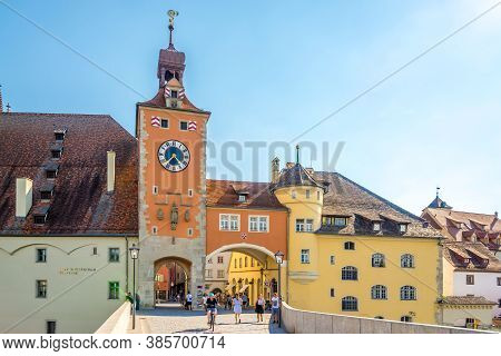 Regensburg,germany - August 10,2020 - View At The Old City Gate In Regensburg. Regensburg Is A City