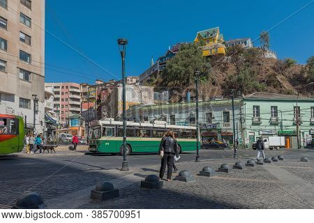 View Of The Plaza Anibal Pinto Square In Valparaiso, Chile
