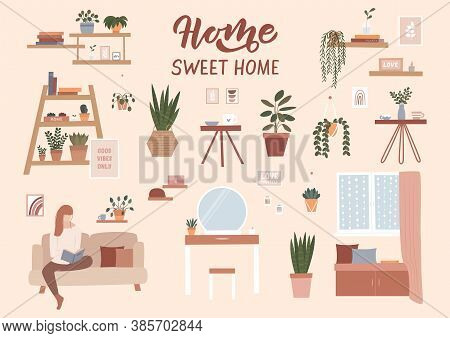 Modern Home Interior Elements - Potted Plants, Bookshelves, Posters, Furniture. House Plants Flat Il