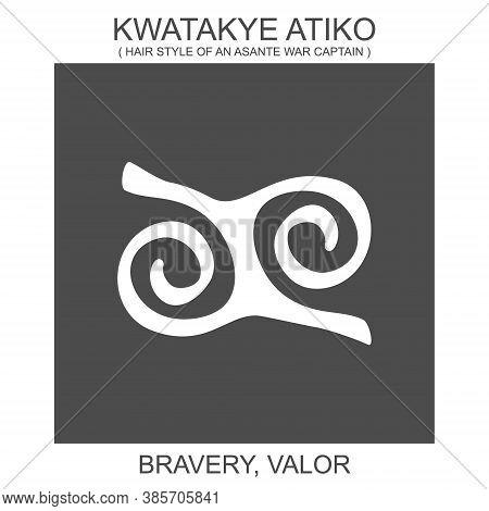 Vector Icon With African Adinkra Symbol Kwatakye Atiko. Symbol Of Bravery And Valor
