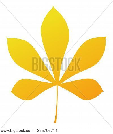 Yellow Autumn Chestnut Leaf. Isolated Silhouette On White Background. Vector Illustration.