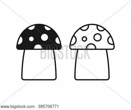 Mushroom Shape Icon. Champignon Silhouette Set. Simple Flat Shape Toadstool Ot Fly Agaric Symbol. Fl