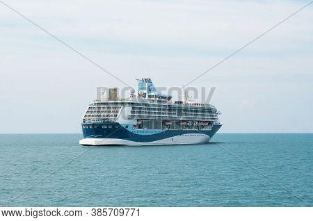 Koh Samui Island, Thailand - December 15, 2019: Cruise Ship Of The Tui Cruises Company Sails In The