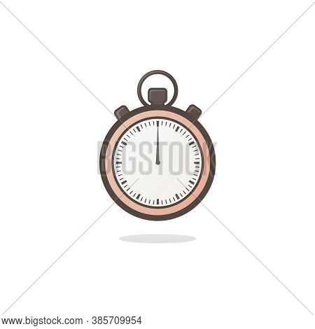 Stopwatch, Timer, Clock Illustration. Flat Illustration Of Stopwatch. Vector Icon For Web Design. Is