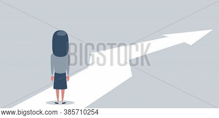 Business Growth Vector Concept With Woman Walking Towards Upwards Arrow. Symbol Of Success, Promotio