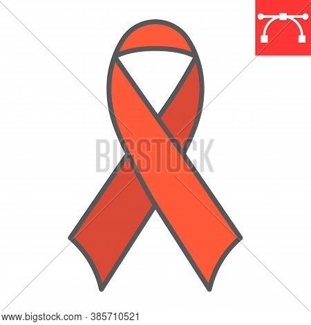 Worlds Aids Day Color Line Icon, Aids And Hiv, Red Ribbon Sign Vector Graphics, Editable Stroke Fill