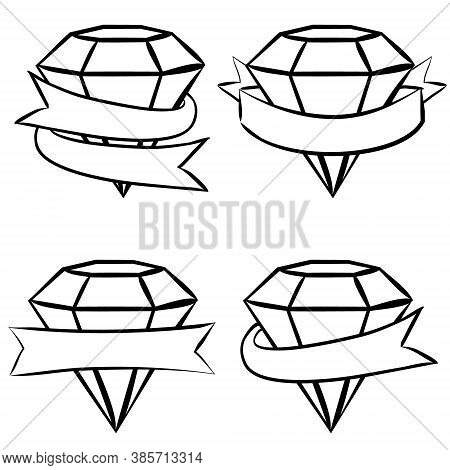 Hand-drawn Vector Labels With Crystals. White Ruby, Emerald, Diamond Wrapped In Tape. Ribbons For Te