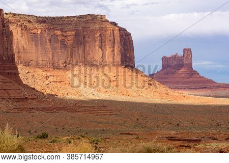 Monument Valley Imposing Rock Structures Of Geological Rock Outcrops In Utah Usa