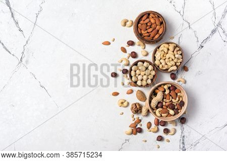 Bowls With Nuts Mix As Snack Or Ingredient For Tasty Dessert, Meal