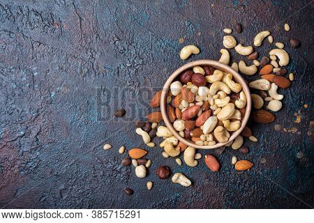 Bowl With Nuts Mix As Snack Or Ingredient For Tasty Dessert, Meal