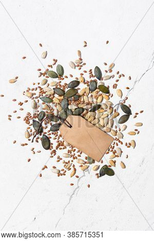 Different Seeds As Snack, Ingredient For Oil, Mix For Healthy Salad