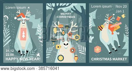 Set Of Vector Merry Christmas And Happy New Year Greeting Banners And Invitation Flyer For The Chris