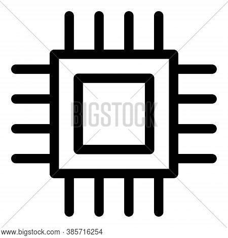 Computer Processor Icon In Line Design Style. Microchip Symbol.