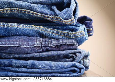 Denim Jeans Texture Or Denim Jeans, Close-up