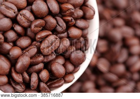 Coffee Cup Full Of Coffee Beans, Close-up