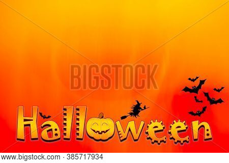 Colorful Halloween Background With Letter, Bats And Witch - 3d Render