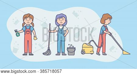 Cleaning Service Crew Concept. Female Characters In Uniform Cleaning The House With Vacuum Cleaner,