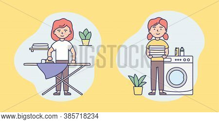 Laundry Service, Routine, Housework Concept. Set Of Isolated Icons With Female Character Washing And