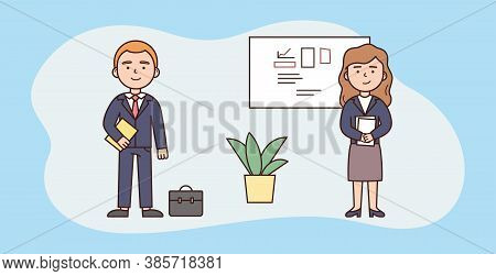 Business Presentation Concept. Business People Making Business Report, Managing Deliverables. Charac