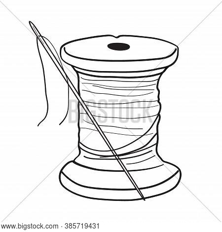 Thread Spool With Needle Hand Drawn Illustration. Retro Style, Outline. Vector On A White Background