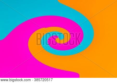 Texture Three Colors Twirl Swirl Cyan Blue Magenta Orange Background With Copy Space Banner Advertis