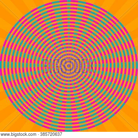 Circular Illustration Abstract Hypnotics Psychadelic Multi Colored Orange Magenta Blue Small Circle