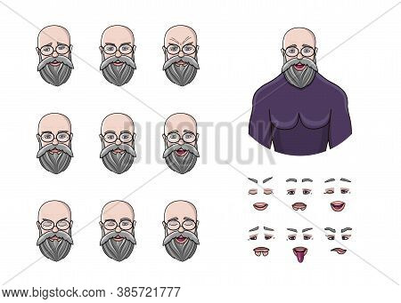 Set Of Different Emotions Male Character For Animation And Motion Video. Handsome Old Grey Man Emoji