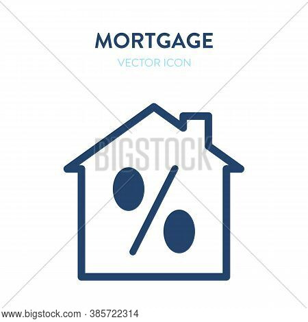 Mortgage Icon. Vector Illustration Of A House Building And A Prercentage Sign In It. Represents A Co