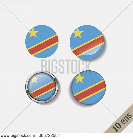 Set Of Democratic Republic Of The Congo Flags Round Badges. Vector Illustration. 10 Eps