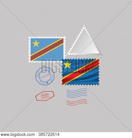 A Set Of Postage Stamps With The Image Of The Flag Of Democratic Republic Of The Congo Isolated On A