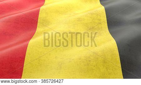 National Flag Of Belgium. 3d Rendering Illustration