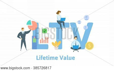 Ltv, Lifetime Value Or Loan To Value. Concept With Keywords, People And Icons. Flat Vector Illustrat