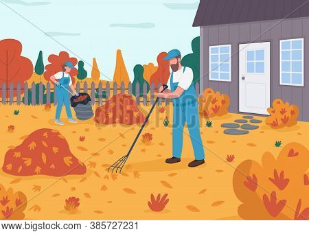 Raking Leaves Flat Color Vector Illustration. People In Uniform Do Seasonal Cleanup In Yard. Woman A