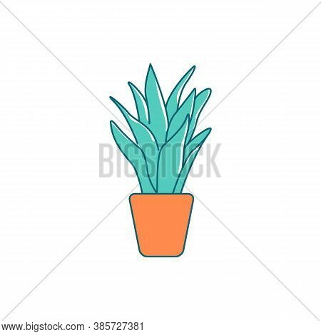 Houseplant Flat Color Vector Object. Indoor Plant In Holder. Urban Exotic Greenery For Apartment. Po