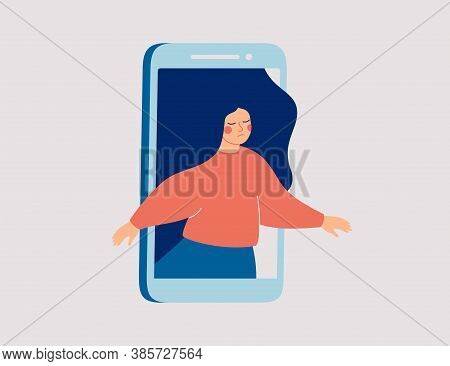 Sad Female Runs Out Of The Mobile Phone. Girl Feels Vulnerable And Lonely On Social Online Spaces. S