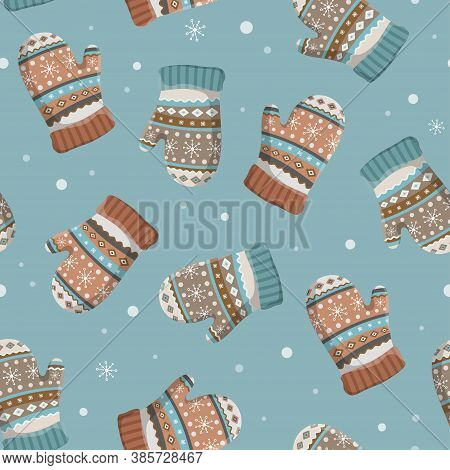 Christmas And New Year Seamless Pattern With Winter Gloves And Mittens. Great For Fabric, Textile, W